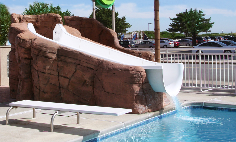 water slide and diving board